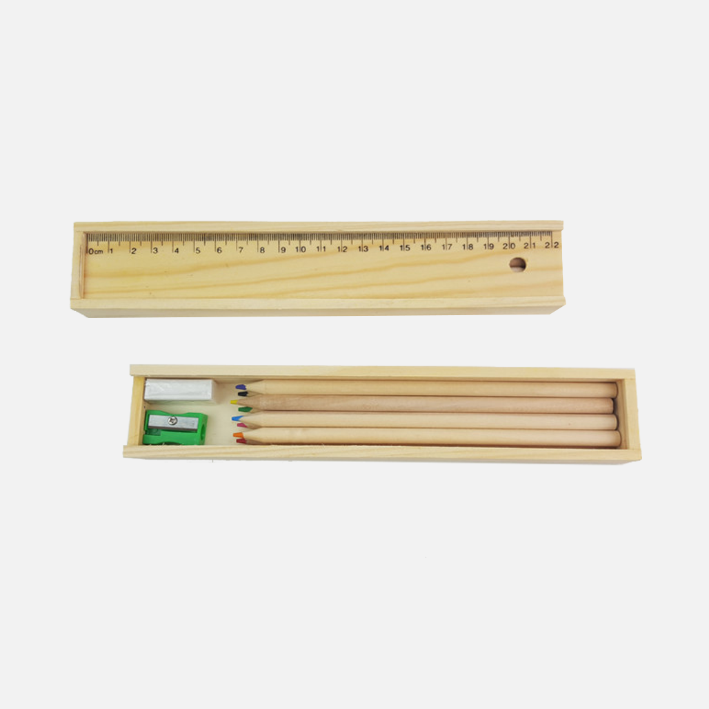 Wooden Colourful Pencil Set in Ruler Box 2