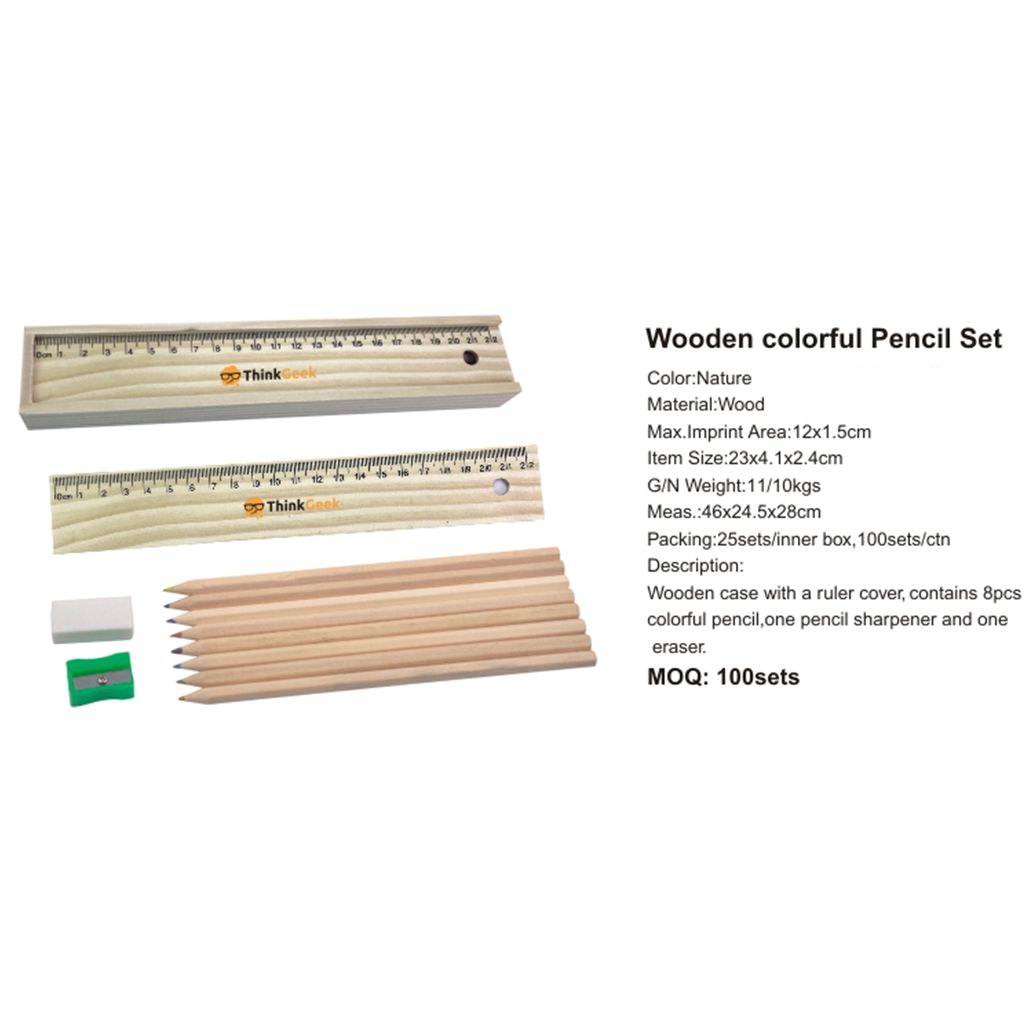 Wooden Colourful Pencil Set in Ruler Box 3